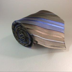 """Calvin Klein blue gold stripe silk tie 58/3.75"""""""